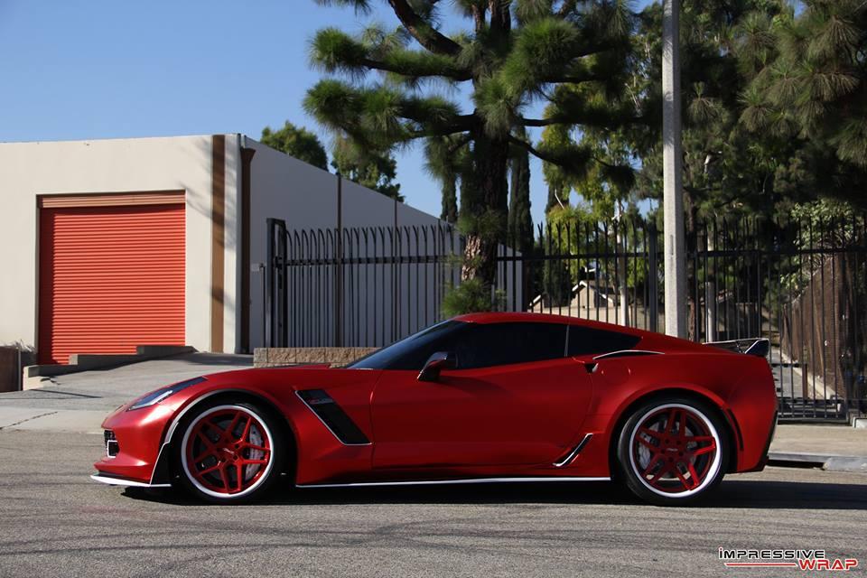Pics C7 Corvette Z06 Receives Satin Red Chrome Wrap