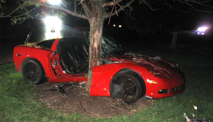 DUI Driver Crashes C6 Corvette and Bails on Trapped Female Passenger