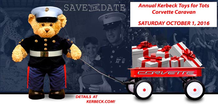 Kerbecks 13th Annual Toys for Tots Corvette Caravan is Saturday, October 1st!
