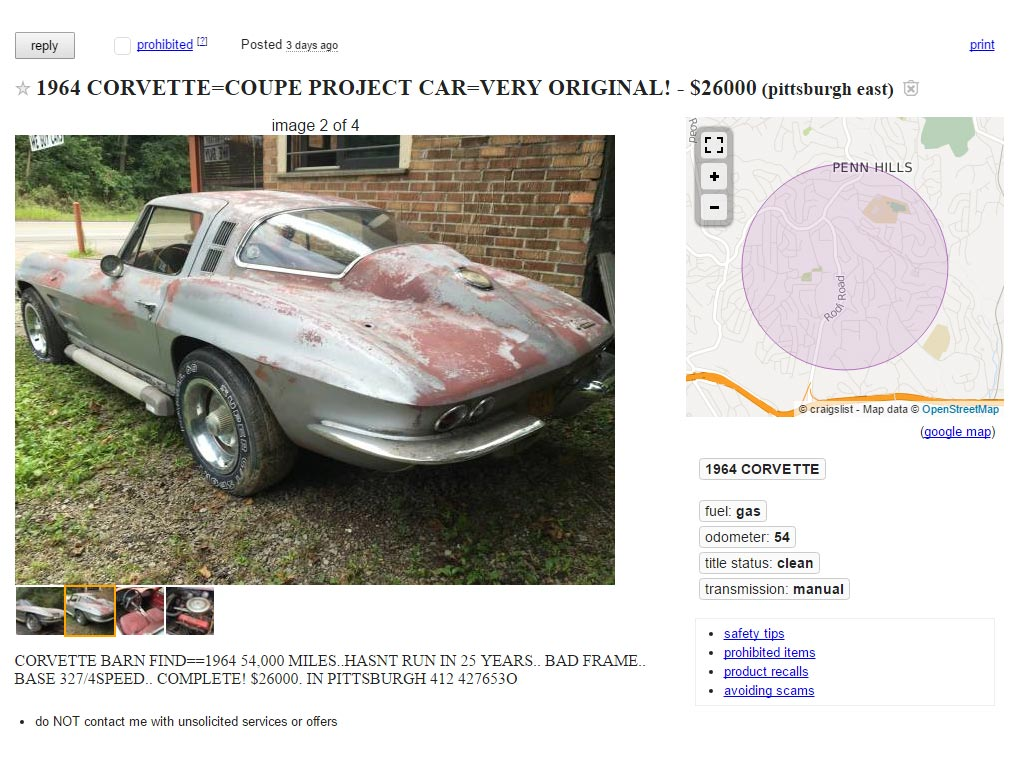 Corvettes on Craigslist: Barn Find 1964 Corvette Sting Ray ...