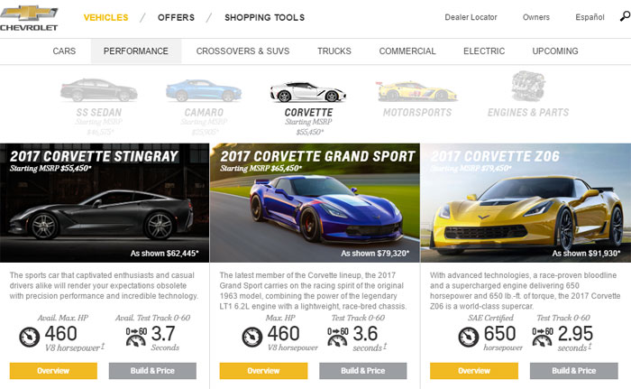 Chevrolet Updates the 2017 Corvette Configurator with New Features