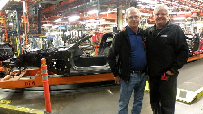 Dave White (left) and Bob on a Buyers' Tour at the Corvette Plant.