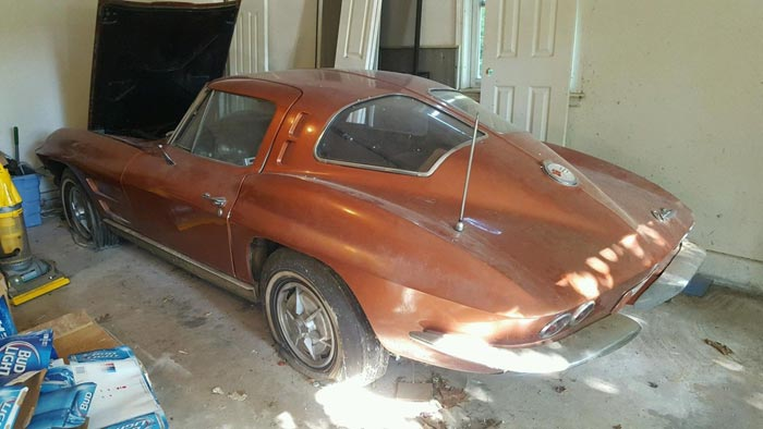 Corvettes on eBay: Barn Find 1963 Corvette Sting Ray Sport Coupe
