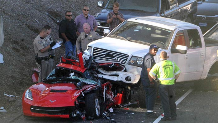 [ACCIDENT] Pickup Truck Lands on top of a Corvette in California
