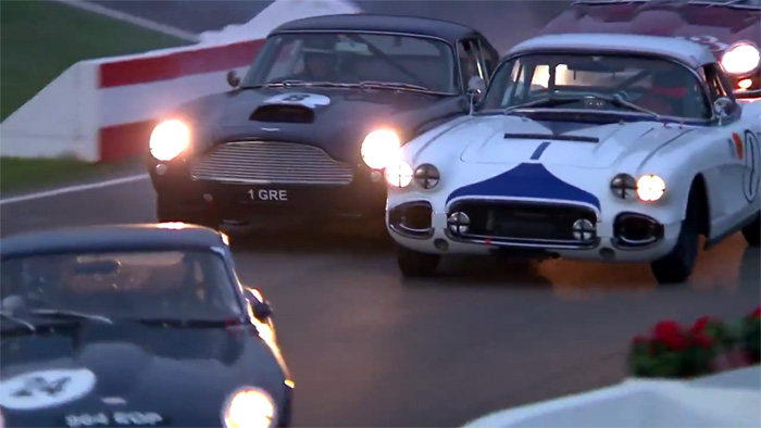 [VIDEO] Classic 1962 Corvette Racer Bumps a Aston Martin DB4 GT at the Goodwood Revival