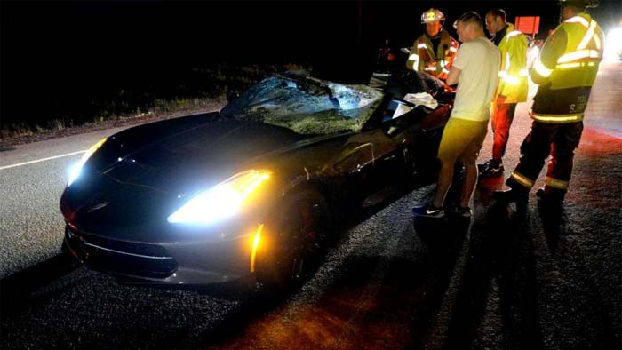 [ACCIDENT] C7 Corvette Crashes into a Moose on the Trans-Canada Highway