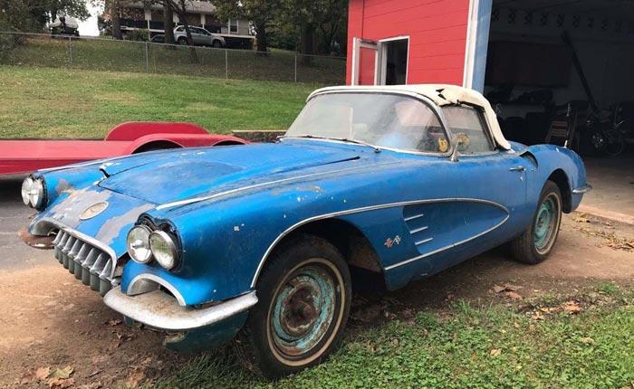 Corvettes on eBay: Barn Find 1958 Corvette With VIN 020