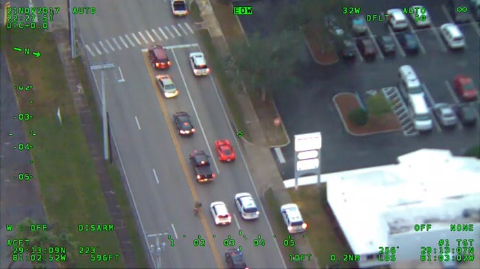 [VIDEO] Corvette Driver Escapes from Police as High-Speed Chase is Captured by Helicopter
