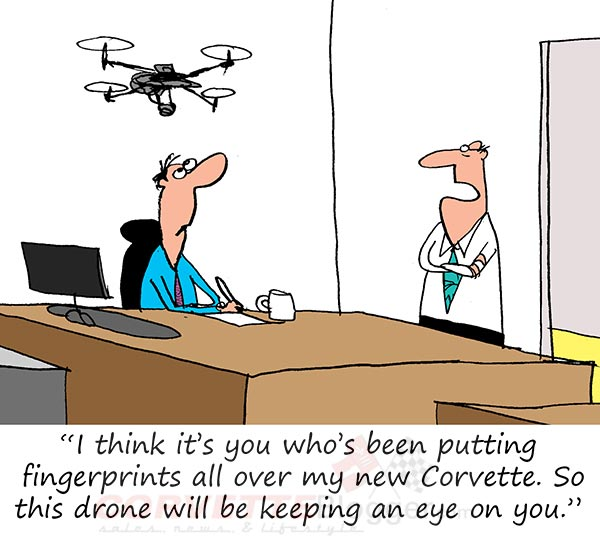 Sunday Morning Corvette Comic: Drone Security for Corvette Owners