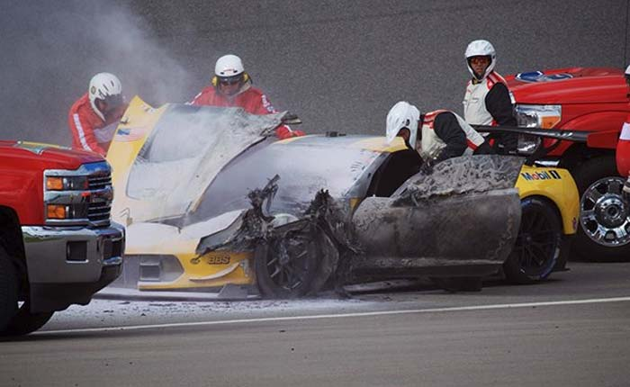 The No. 4 Corvette C7.R Catches Fire Sunday Morning at the Roar Before the 24