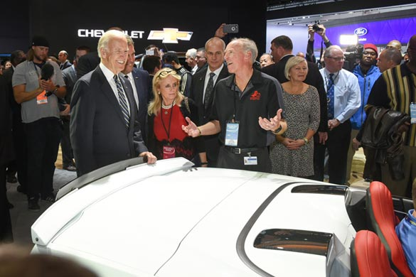 Vice President Joe Biden Checks Out the Corvettes at NAIAS 2017