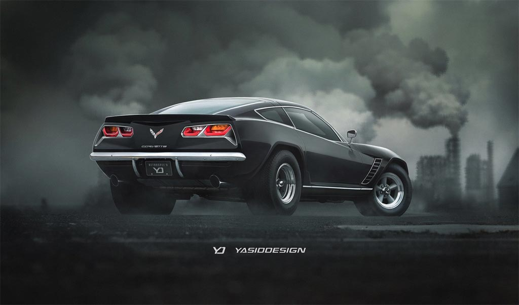 Pic A Retro Corvette Stingray Rendered With A Touch Of