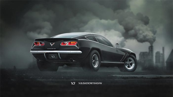 A Retro Corvette Stingray Rendered with a Touch of Camaro