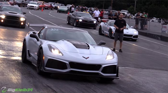 Identical 2019 Corvette ZR1s Take On All Challengers at Local Drag Strip
