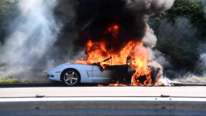 [ACCIDENT]    Arctic White C6 Corvette is burning next to a highway in Connecticut