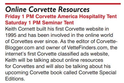 Join Us for the Official CorvetteBlogger Seminar at Corvettes at Carlisle