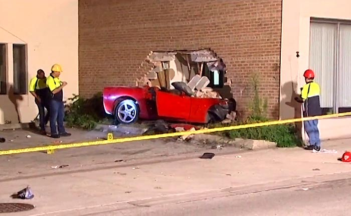 [ACCIDENT] C6 Corvette Punches a Hole In a Brick Building in Chicago Suburb of Skokie