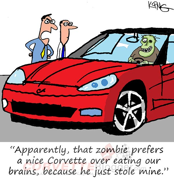 Saturday Morning Corvette Comic: Zombies Prefer Their Corvettes to be Blood Red
