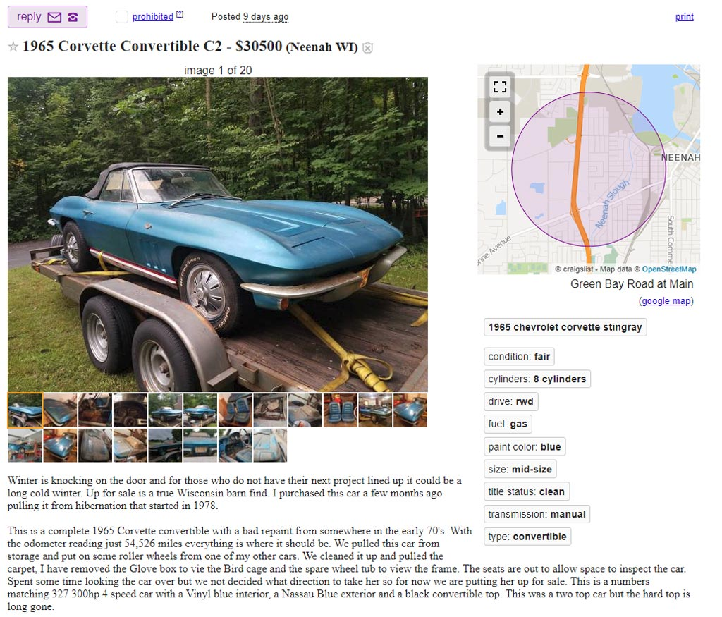 Corvettes on Craigslist: 1965 Corvette Project Car Named Barny Needs