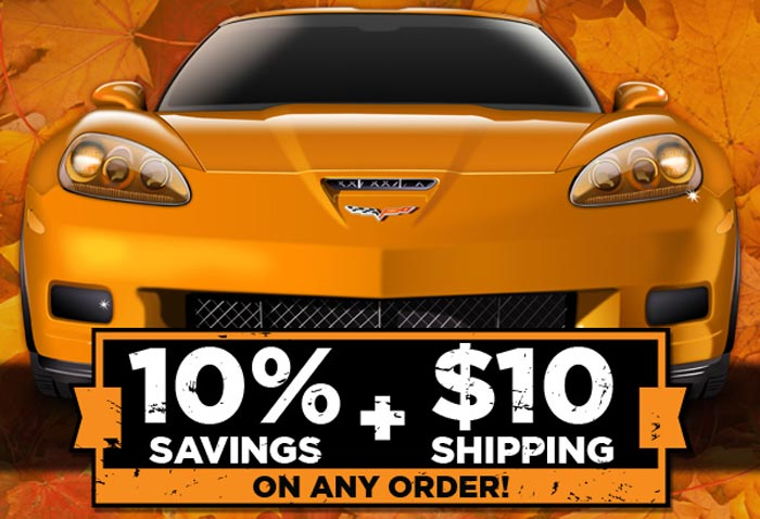 Save 10% and Get $10 Flat Rate Shipping at Corvette America