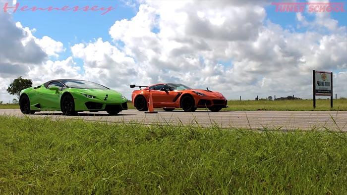 [VIDEO] Hennessey Performance Drag Races a 2019 Corvette ZR1 vs Lamborghini Huracan