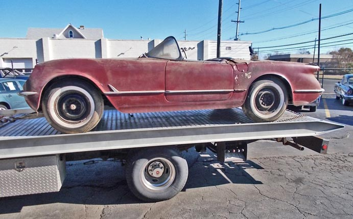 Rare Sportsman Red 1954 Corvette Barn Find Parked for Half a Century