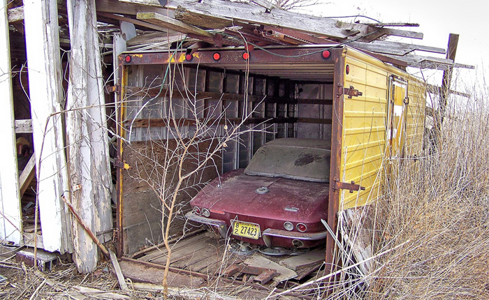 1966 Corvette Found Stored in an Old Truck Box on an Iowa Farm