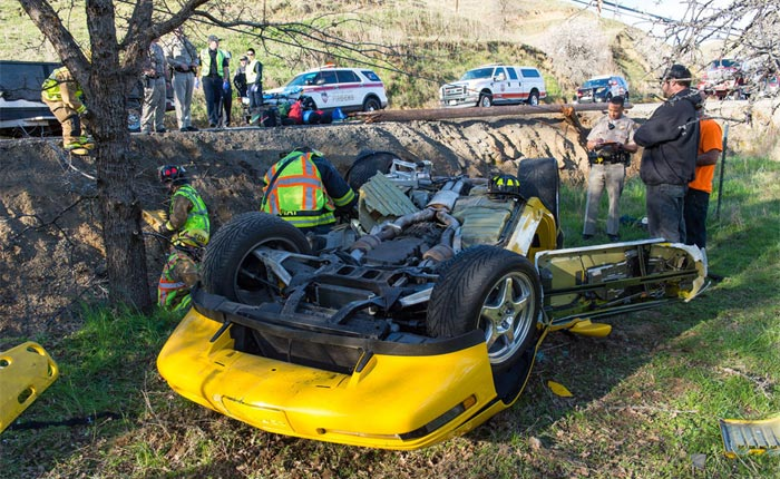 [ACCIDENT] Driver Trapped After a C4 Corvette ZR1 Rollover Crash