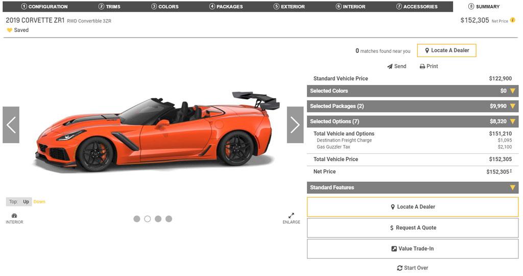 The 2019 Corvette Configurator For All Models Including The Corvette