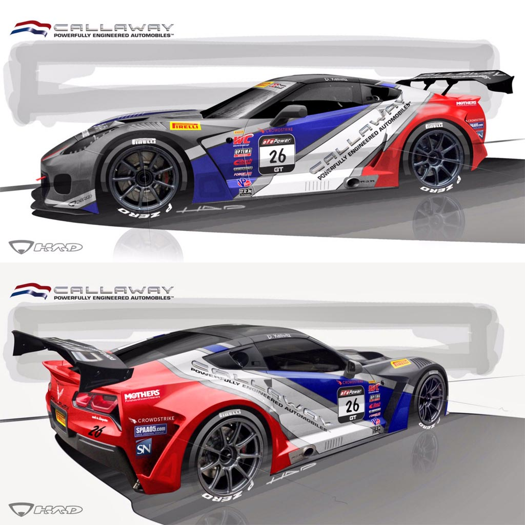 video callaway competition usa unveils racing livery for the no 26 corvette c7 gt3 r. Black Bedroom Furniture Sets. Home Design Ideas