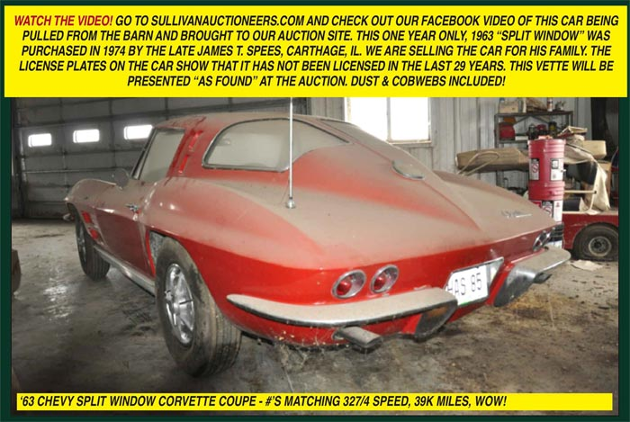 Barn Find 1963 Corvette Sting Ray Coupe to be Offered 'As-Found' at Illinois Auction