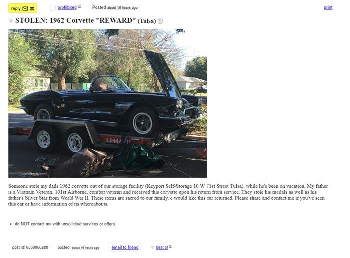 [STOLEN] Thieves Steal a Vietnam Veteran's 1962 Corvette