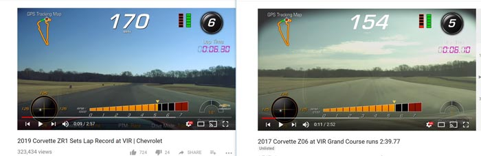 PDR Screen Shots from VIR Show Just How Much Faster the Corvette ZR1 is versus the Z06