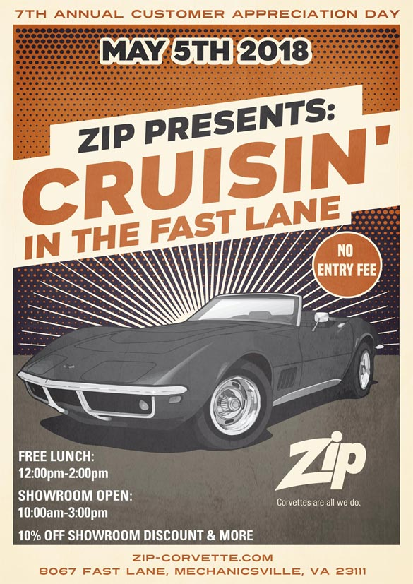 Zip Corvette is Hosting Their Customer Appreciation Cruise-in on Saturday, May 5th