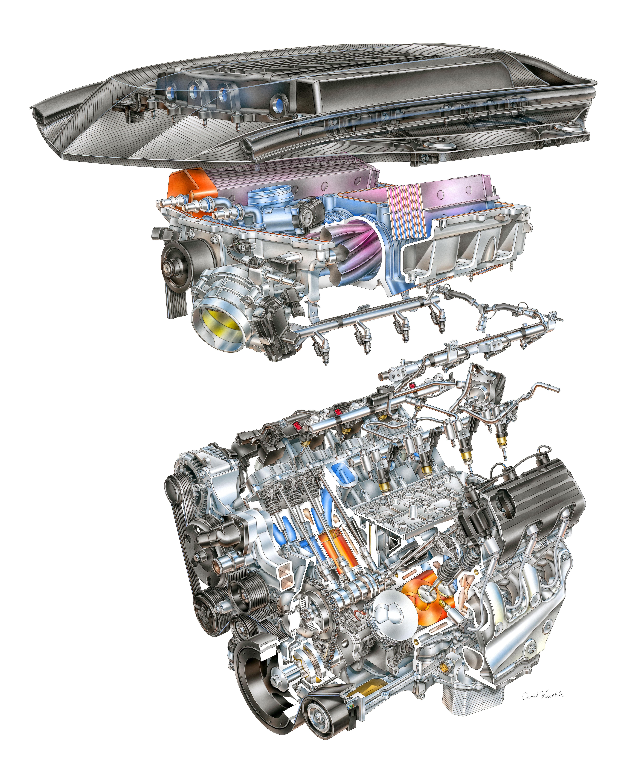 pic david kimble s illustration of the corvette zr1 s lt5 v8 engine rh corvetteblogger com ZR1 LT5 Engine Chevy Lt5 Engine Specs