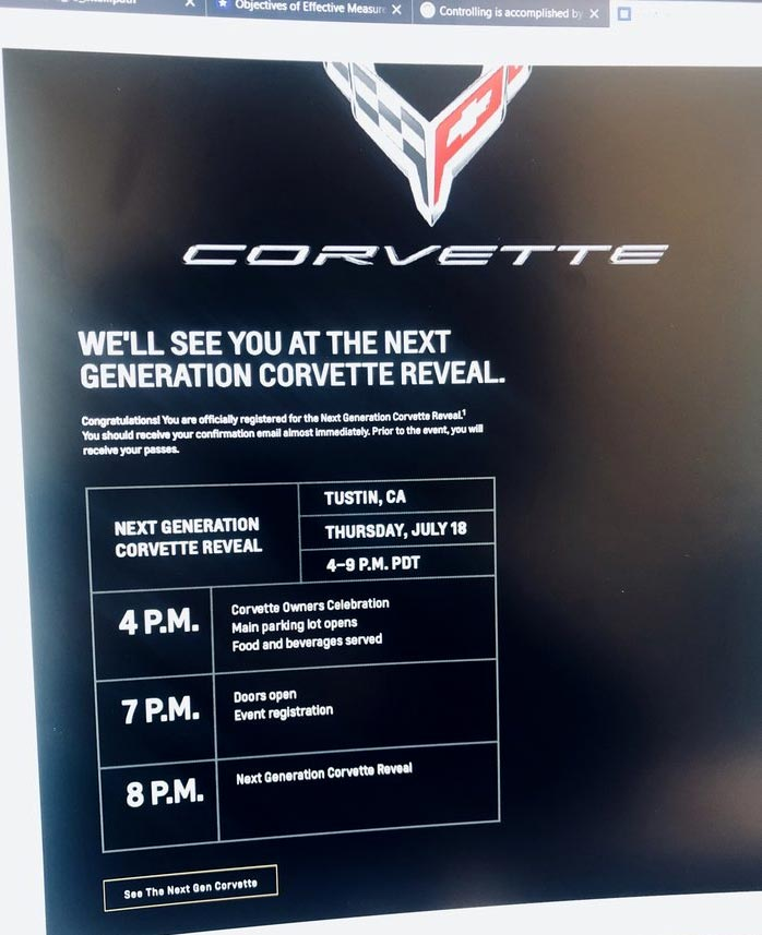 Schedule of Events for the C8 Corvette Reveal Now Public