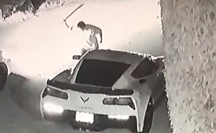 [VIDEO] WTF Moment as a Corvette Z06 is Vandalized by a Man with a Machete