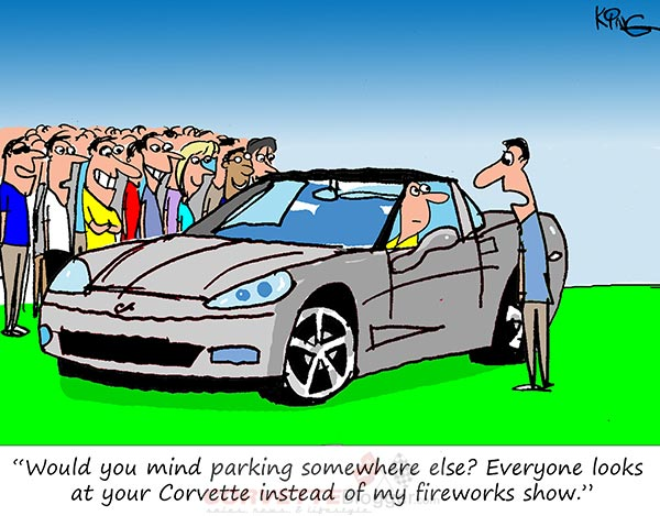 Saturday Morning Corvette Comic: Fireworks in the Parking Lot