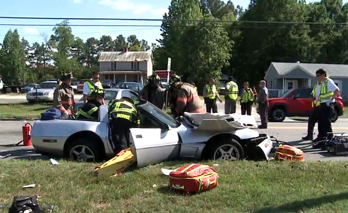 C4 Corvette Involved in Head-On Crash with BMW
