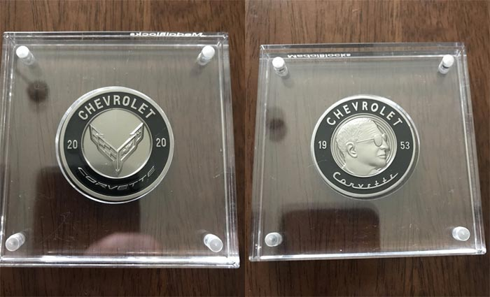 Black Commemorative C8 Corvette Coin Received by Enthusiast