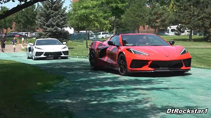 [VIDEO] Torch Red and Arctic White 2020 Corvette Stingrays Arrive at the Concours d'Elegance of America
