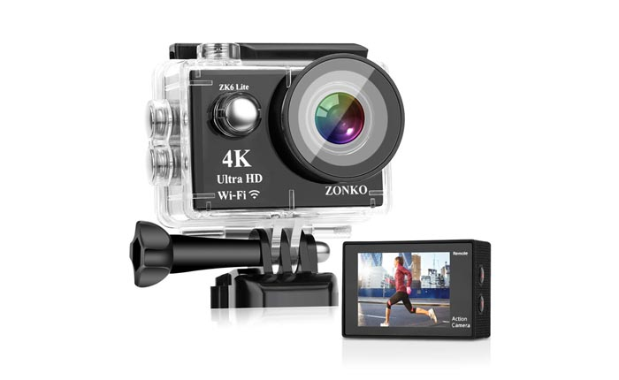 [AMAZON] Save 60% on the ZONKO 4K Waterproof Sports Action Camera Now Priced at $28