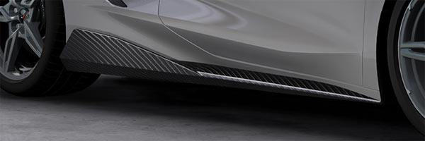 Rocker Panel Extensions in Visible Carbon Fiber