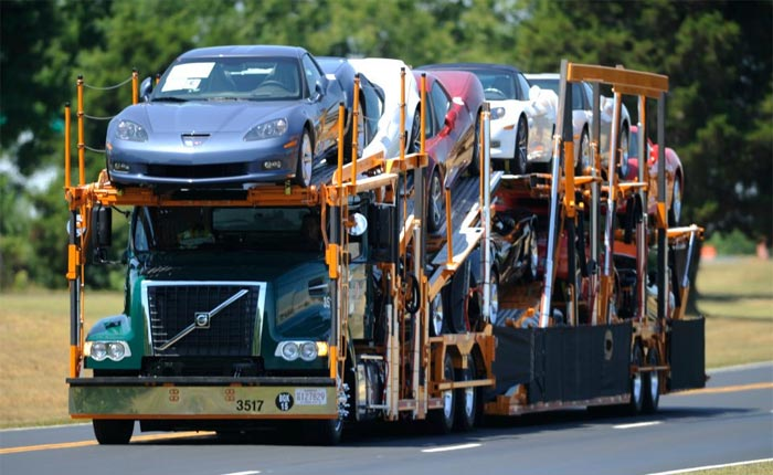 C6 Corvettes on an auto transporter