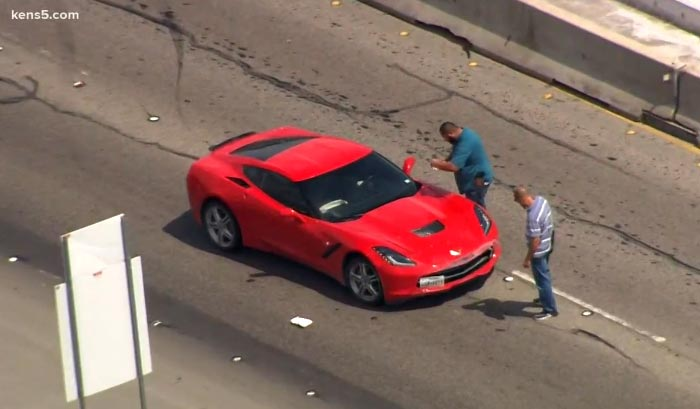 [ACCIDENT] Stolen C7 Corvette Chased By Police Crashes on Interstate 10 in San Antonio