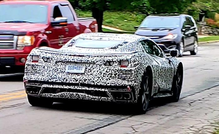[SPIED] 'Hybrid' C8 Corvette Mule Spotted in Camouflage on the Streets of Ann Arbor