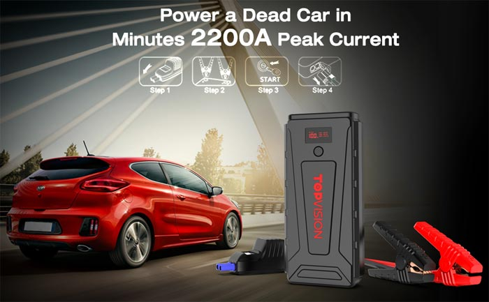 [AMAZON] Save 50% on the TOPVISION 2200a Peak 21800mAh Portable Car Power Pack