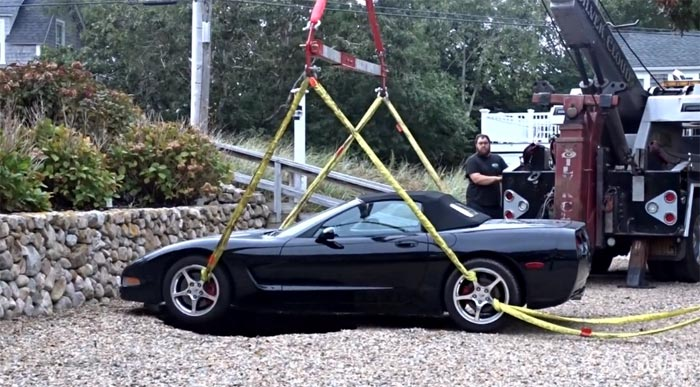 [VIDEO] A Sinkhole Almost Claims Another Corvette