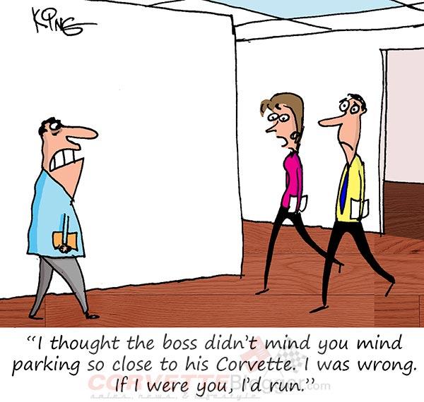 Saturday Morning Corvette Comic: Parking Next to the Boss's Corvette