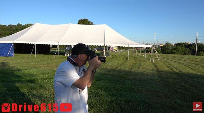 CorvetteBlogger shooting the new C8s
